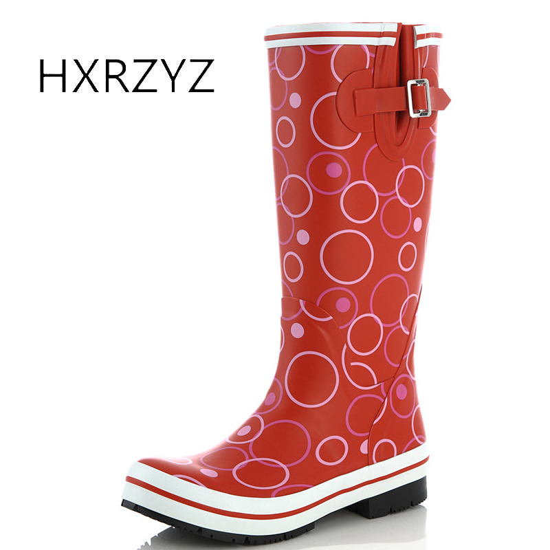 HXRZYZ women rubber boots female buckle rain boots 2017 fashion waterproof slip-resistant spring or autumn women black/red shoes hxrzyz women rain boots spring autumn female ankle boots ladies fashion high top blue and red non slip waterproof women shoes