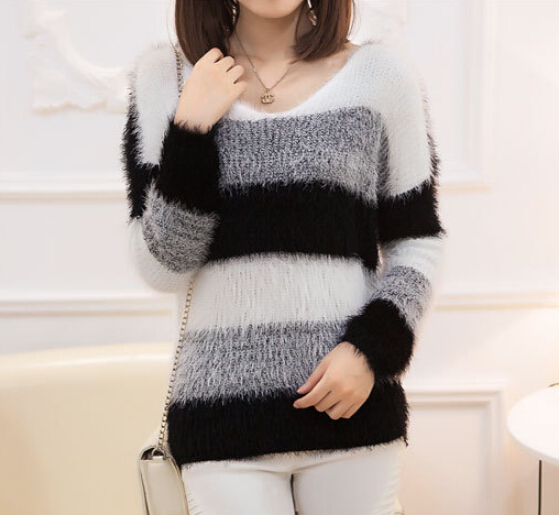 097d9d7a5c6 US $27.98 |2015 hot sale black grey strip women sweater girls popular  pullover -in Pullovers from Women's Clothing on Aliexpress.com | Alibaba  Group
