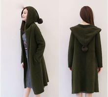 In the long winter custom female cardigan sweater thickened ladies mink cashmere knitted hooded mink cashmere