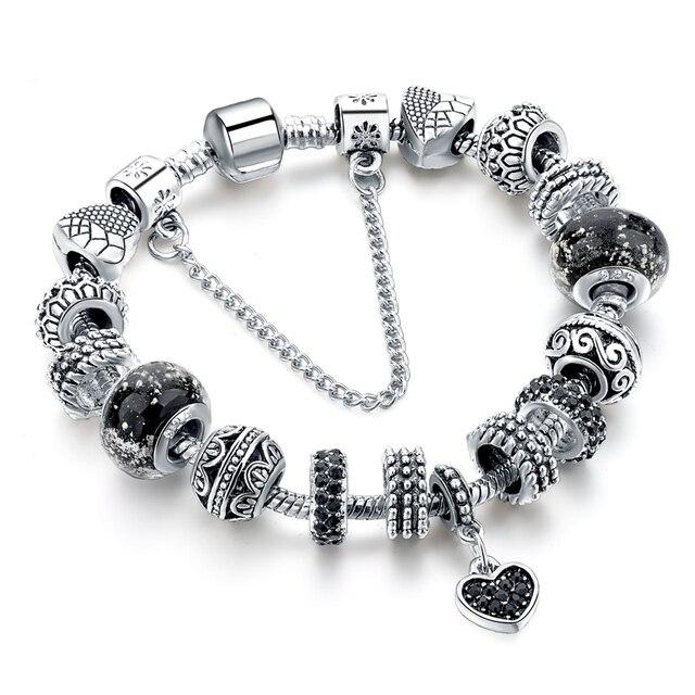 Szelam Black Heart Charm Bracelets For Women European Silver Bracelets Bangles DIY Fashion Silver Jewelry SBR160293