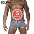 Esiupin marca 5 unids/lote underwear hombres cueca calzoncillos de hombre calzoncillos de algodón sexy slip bs003