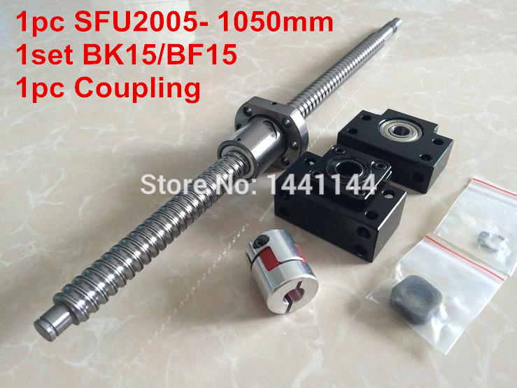 SFU2005 ball screw  1050mm+ SFU2005 METAL DEFLECTOR Ballscrew nut + BK15 BF15 support + flexible couplerSFU2005 ball screw  1050mm+ SFU2005 METAL DEFLECTOR Ballscrew nut + BK15 BF15 support + flexible coupler