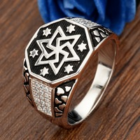 BELLA Fashion Men Unisex Hexagon Star Vintage Style 925 Sterling Silver Band Ring Size 9 10