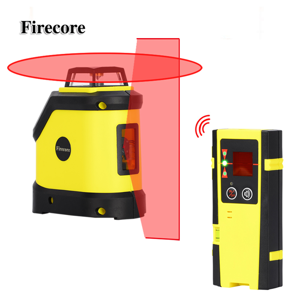Firecore F190R 5 Linee di Livello del Laser 4 Gradi Autolivellante Croce Laser Rosso del Fascio + Ricevitore Esterno