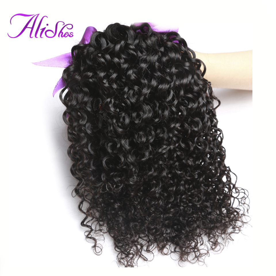 Alishes Hair Brazilian Curly Hair Bundles 8-28 Human Hair Extensions Natural Color Remy Hair Weaving 1/3 Bundle Deals 95g-105g