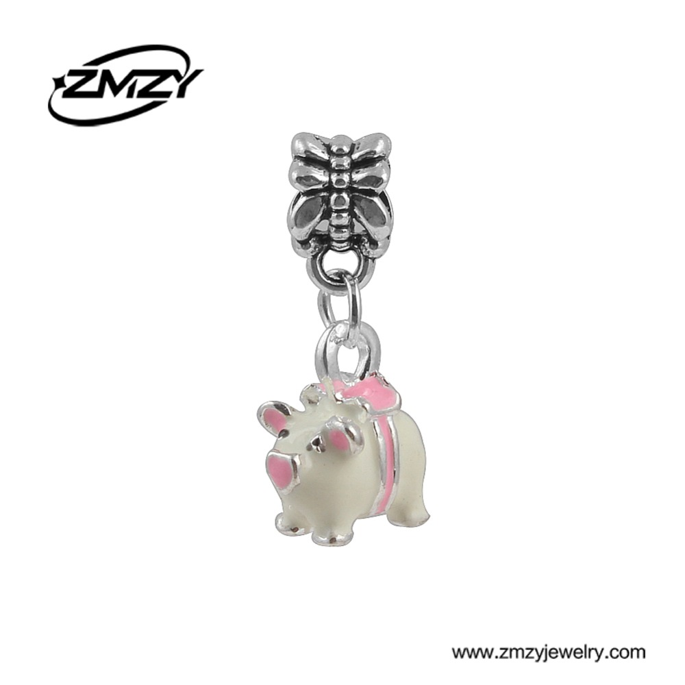 """Nauji mados emalio rožiniai kiaulės pakabukai, karoliukų pakabukai, sidabruoti, tinkami """"Pandora"""" žavesio apyrankėms, karoliai, moterims"""
