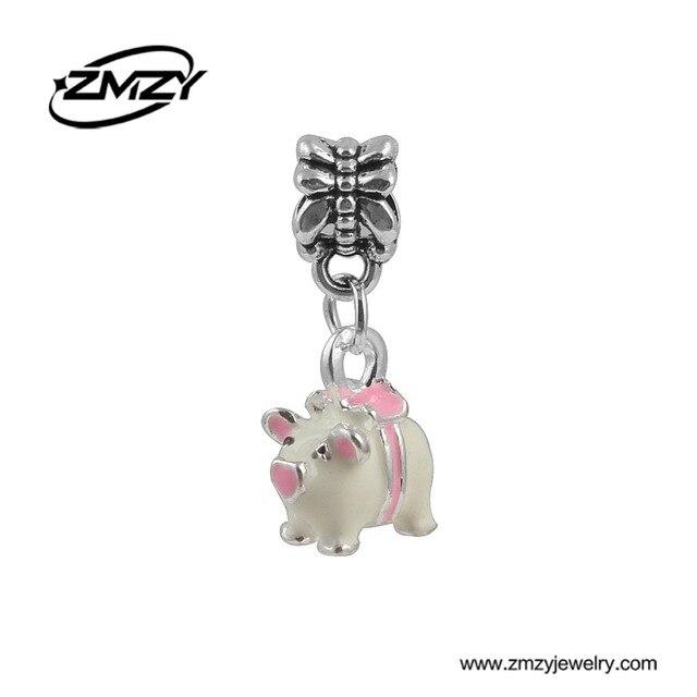 New Fashion Esmalte Pink Pig Pingentes Bead Encantos Banhado A Prata fit Pandora Charm Bracelet Colar para As Mulheres Presente