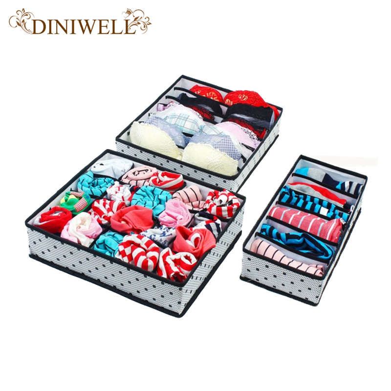 DINIWELL 1Set Collapsible Storage Boxes For Bra Underwear Folding Closet Organizer Drawer Divider Container