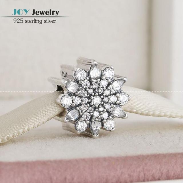 Se adapta a pandora pulseras micro pave cz navidad encantos cristalinos de la flor de hielo auténtico 925 granos de la joyería de plata esterlina para las mujeres