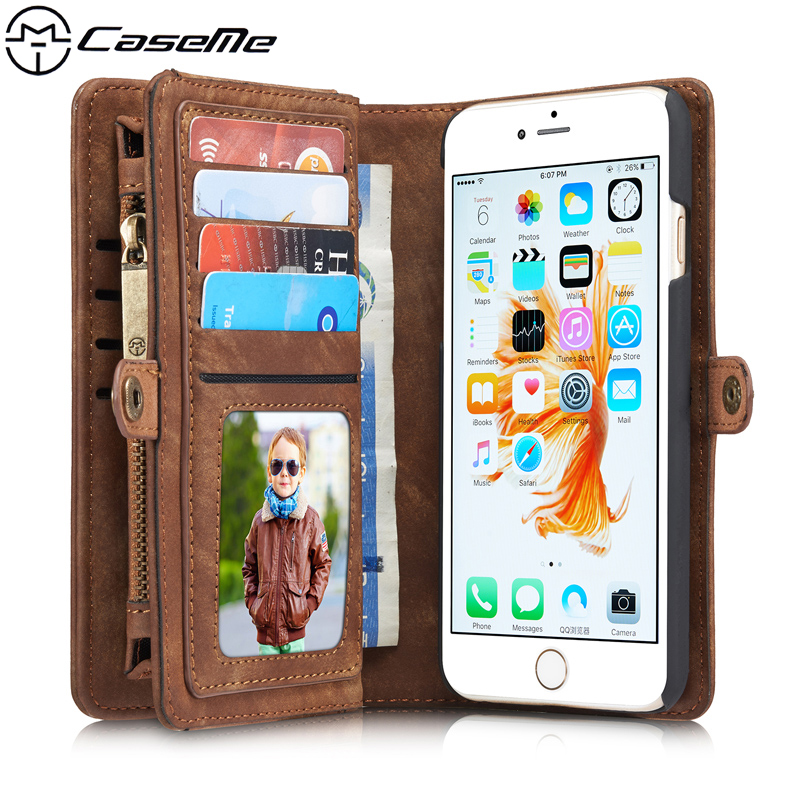 imágenes para Para iphone 6 6s plus 5.5 retro case de cuero de calidad con Tarjeta de Bolsillo Con Cremallera de Múltiples Funciones Magnética Teléfono de La Contraportada Para iPhone6