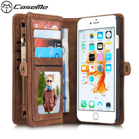 For IPhone 6 6s Plus 5 5 Retro Quality Leather Case With Zipper Wallet Card Multifunction