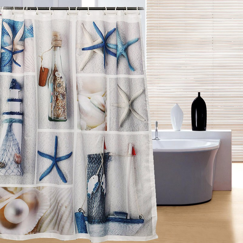 New 150x180cm Waterproof Fabric Bule Starfishs Seashell And Sandy Beach Sea World Bathroom Shower Curtain Bathroom Decor Gift