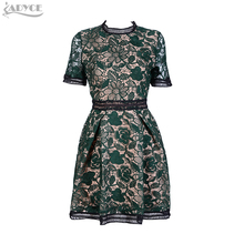 Celebrity Runway Green Lace Dress 2017 New Women Party Dresses chic backless mesh short sleeve Floral Girl sexy Ball Gown Dress