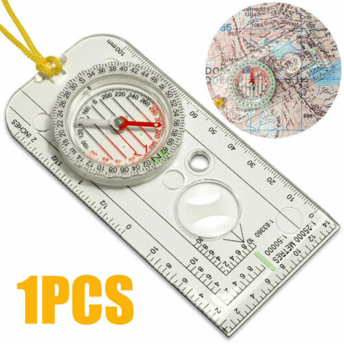 Portable Outdoor Portable Magnifying Compass Ruler  Magnifier Scale Scout Hiking Camping Boating Orienteering Map 126*40*10mm