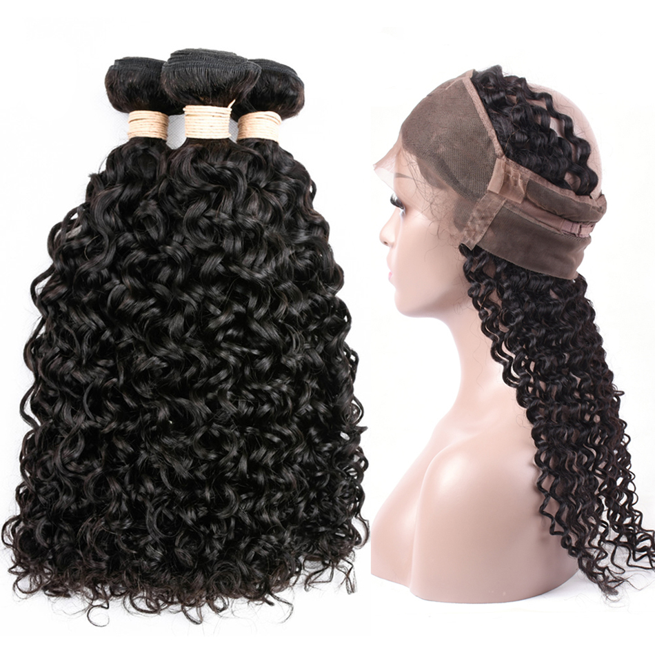 Indian Water Wave 3 Bundles with 360 Lace Frontal Closure 4pcs lot Human Hair Bundles with