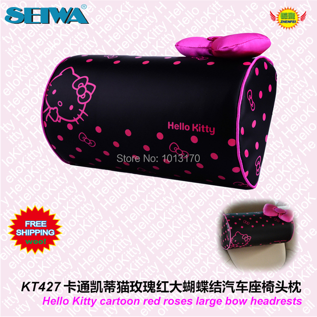 Car Accessories Cartoon red bow hellokitty series cylindrical head neck pillow KT427 free shipping