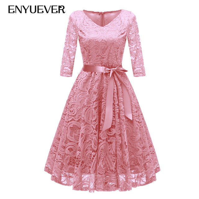 d17634cbd290e Enyuever Pink Lace Dress Woman Dress 2018 Spring Summer Casual Sleeves  Vestidos Vintage 50s Rockabilly Elegant Short Party Dress