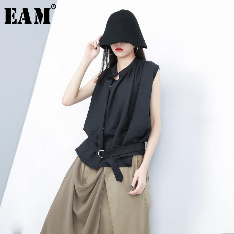 [EAM] 2019 New Spring Summer V-collar Sleeveless Ruffles Split Joint Temperament Irregular Tank Tops Women Fashion Tide JW472