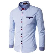 2016 Новый С Длинными Рукавами Плюс Размер 5XL Мужские Рубашки Мужчины Бизнес Полосатый Воротник Повседневная Рубашка Осень Зима Мужчины camisa masculina