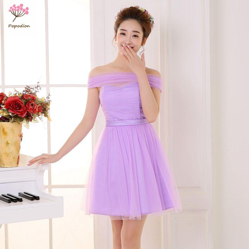 Púrpura vestidos de dama de honor corto vestido de novia para ...