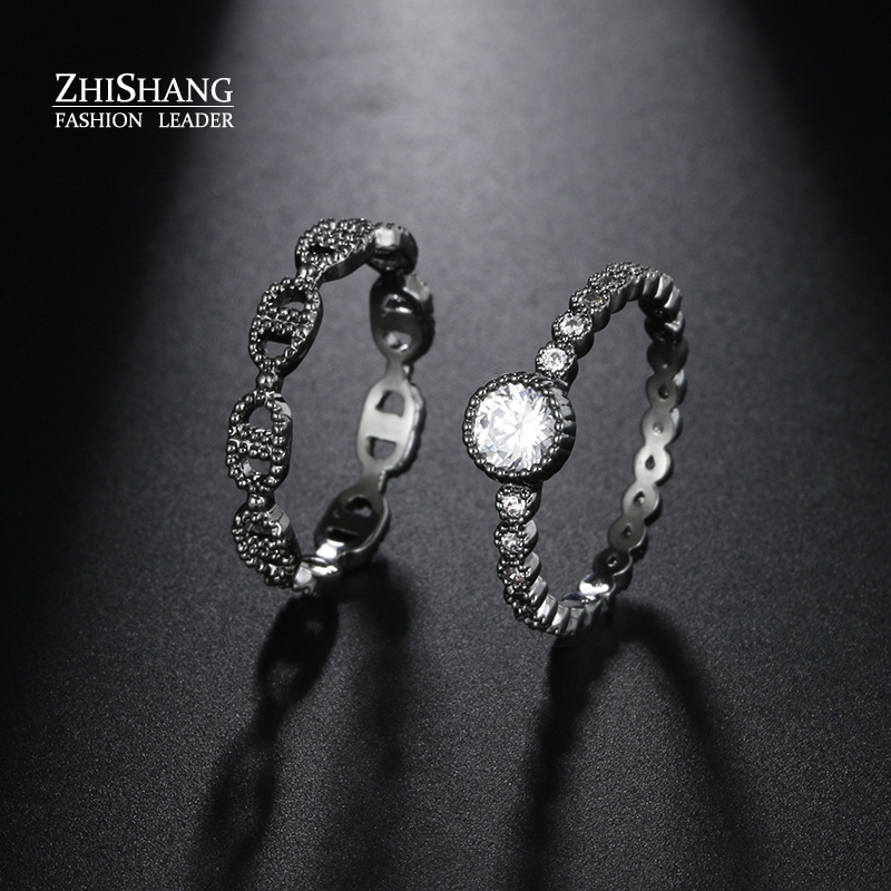 Buy Vintage Gun Black Trendy Lovers Ring Cubic Zirconia Round Shape For Women And Men Wedding Rings Fashion 2017 Wen Rings Jewelry for $10.63 in AliExpress store