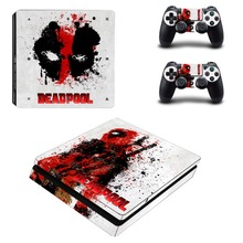 PS4 Slim Skin Sticker DeadPool Vinyl Decal Stickers for Playstation 4 Console & Two Controllers Skins Cover Kit