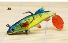 5pcs/pack 9cm 15g cheap lead fishing lure simulation soft rubber T-tail artificial lure counterweight bass 5color soft fishbait