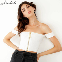 Фотография Macheda 2017 New Fashion Womens Sexy Summer Off Shoulder Metal Zipper Tank Top Vest Sleeveless Summer Solid Color Crop Tops