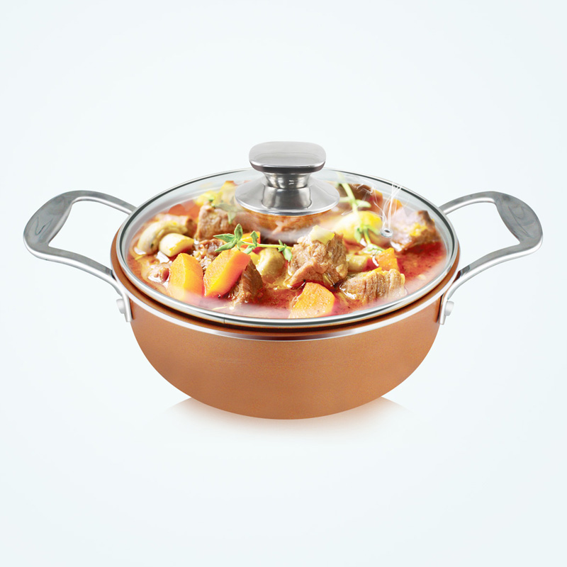 Grand Innovation 2 Handle Non Stick Sauce Pot With Glass