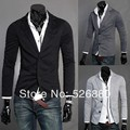 Venda quente Blazer 2016 Outono Nova Chegada dos homens de Roupas de Moda Única Linha de Dois Botões terno dos homens Magro ocasional tricô Terno jaqueta