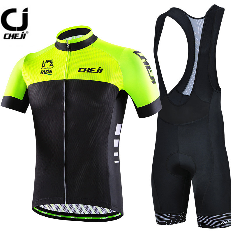 CHEJI Green Black Cycling Jersey Set Bike clothing Ropa Ciclismo MTB bicycle jersey Padded Bib Shorts suit Riding Shirt Maillot teleyi black red ropa ciclismo maillot trouser mtb bike jersey bib pants set men cycling clothing suit riding long sleeve jacket
