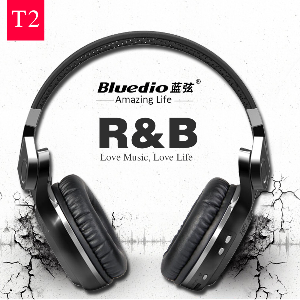 Bluedio T2 Bluetooth Headphones Wireless+Wired Double Mode Bluetooth Headset 100% Original 3D Stereo Bass For Game& Music& Call 100% original bluedio ht bluetooth headset with hd mic headband style bluetooth headphones for game