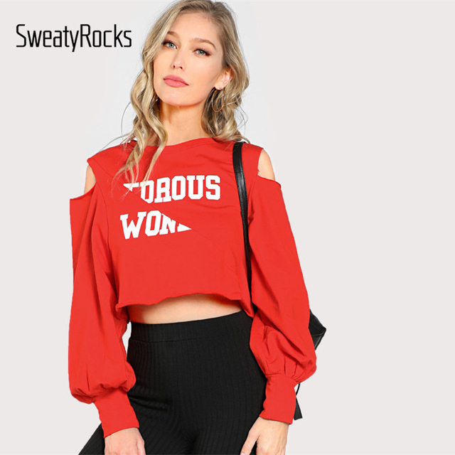 fc5dc471d6313 SweatyRocks Open Shoulder Raw Edge Cut And Sew Crop Pullover 2017 Cold  Shoulder Letter Long Sleeve