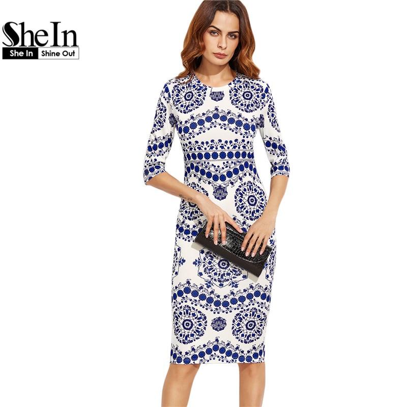 Shein primaveral print dress vestidos de las mujeres porcelana azul y blanca de