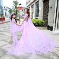 Mother Daughter Wedding Dresses Women Girls Tutu Dress Skirts 2018 Princess Mommy and Me Family Matching Dress for Mom Girls