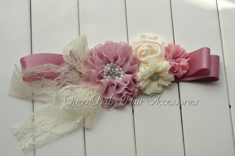 10pcs/lot  Mauve Chiffon Flower Sash  Satin Flower Sash Belt  Maternity Sash