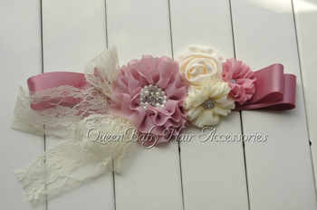 10pcs/lot  Mauve Chiffon Flower Sash  Satin Flower Sash Belt  Maternity Sash - DISCOUNT ITEM  10% OFF All Category