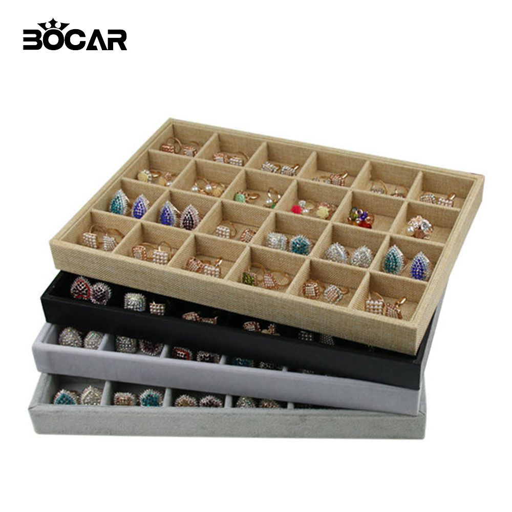 Bocar Brand New Quality 24 Grid Jewelry Trays Jewelry