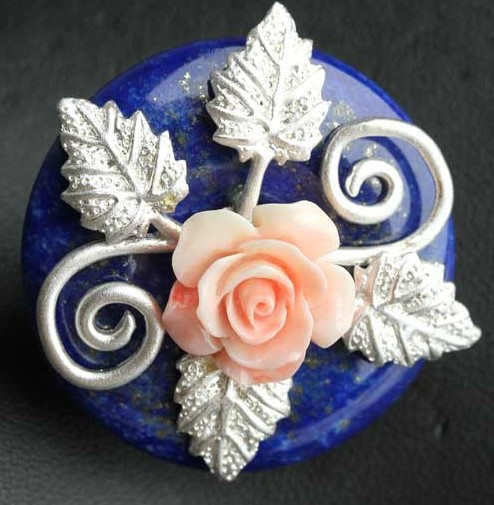 Natural Lapis Brooch Pendant With Flower Semi-precious Stone Brooch Free Shipping Fashion Jewelry цена