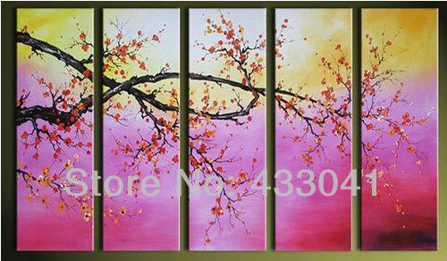 Pink Cherry Blossoms Wall Art Handmade Plum Blossom Oil Painting On Canvas 5 Piece Sets Pictures Bedroom Decor Flowers In Calligraphy