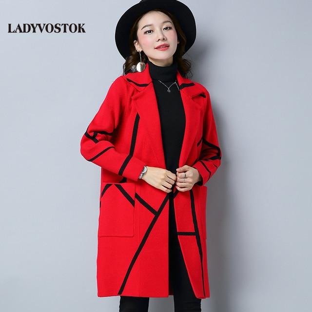 Ледивосток 2018 весна корейская новинка удлиненная женская куртка свободный темперамент вязаный кардиган R1813