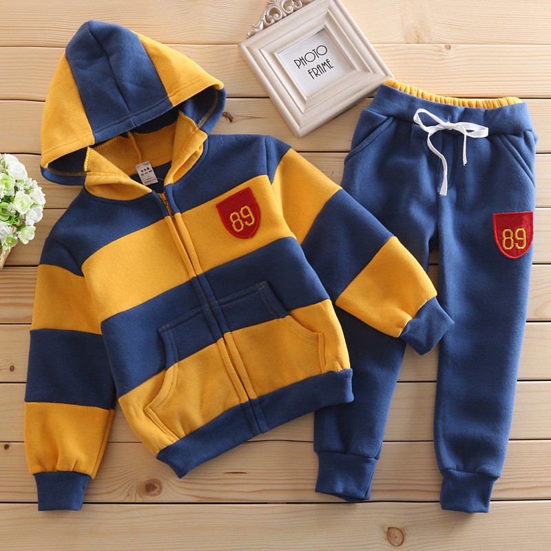 Fashion children clothing sets thicken cotton baby boys girls clothes set kids suits Striped coats +pants spring autumn&winter