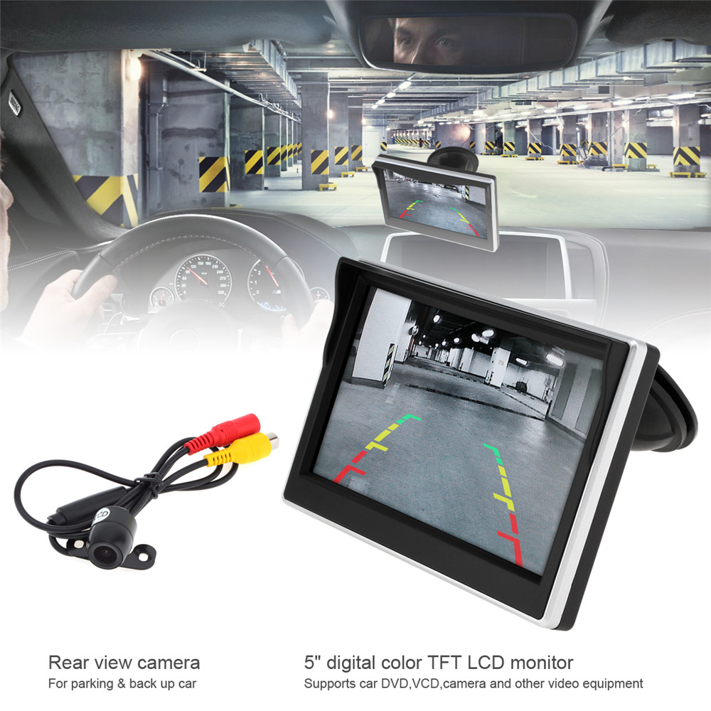 12V New 5 Inch Car TFT LCD Monitor 800*480 16:9 Screen 2 Way Video Input + Water-Resistant Car Rear View Camera