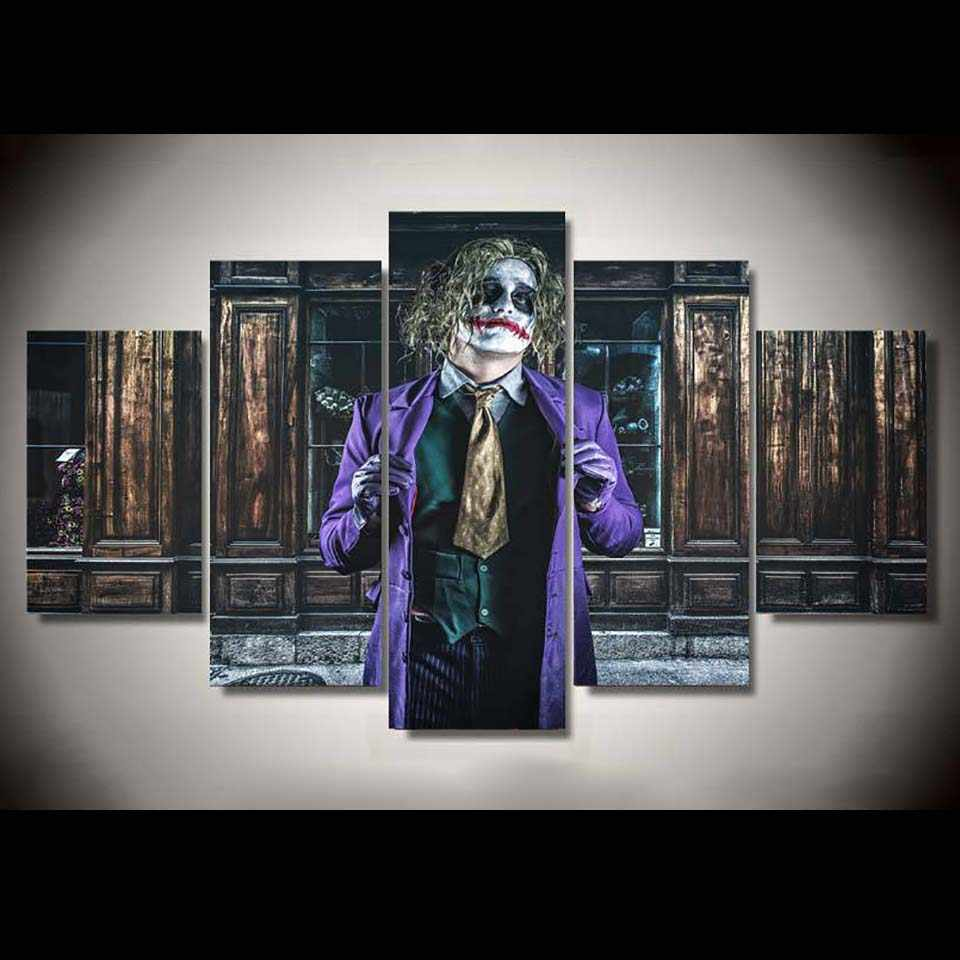 Decoration Living Room HD Printed Wall Artwork 5 Panel Joker Batman Dark Home Painting Modular Pictures Framework Modern Canvas