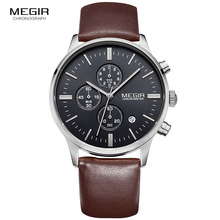 Free shipping Megir Quartz wristwatch for men sports watch waterproof luminous male quartz watch commercial leather strap watch все цены