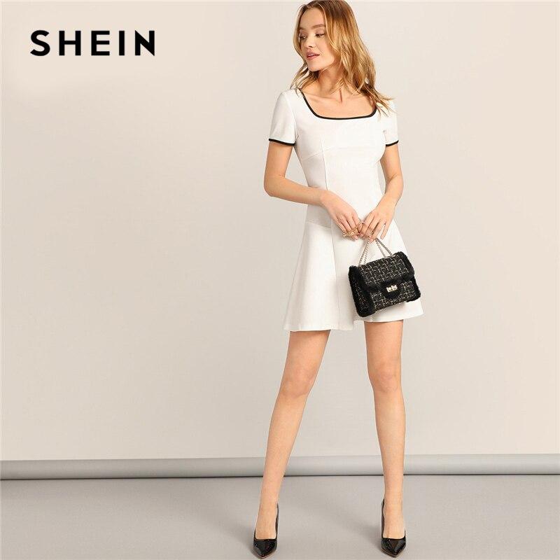 Шеин элегантный белый молния сзади квадратный средства ухода за кожей Шеи связывания звонка летнее платье для женщин опрятный Fit and Flare 2019