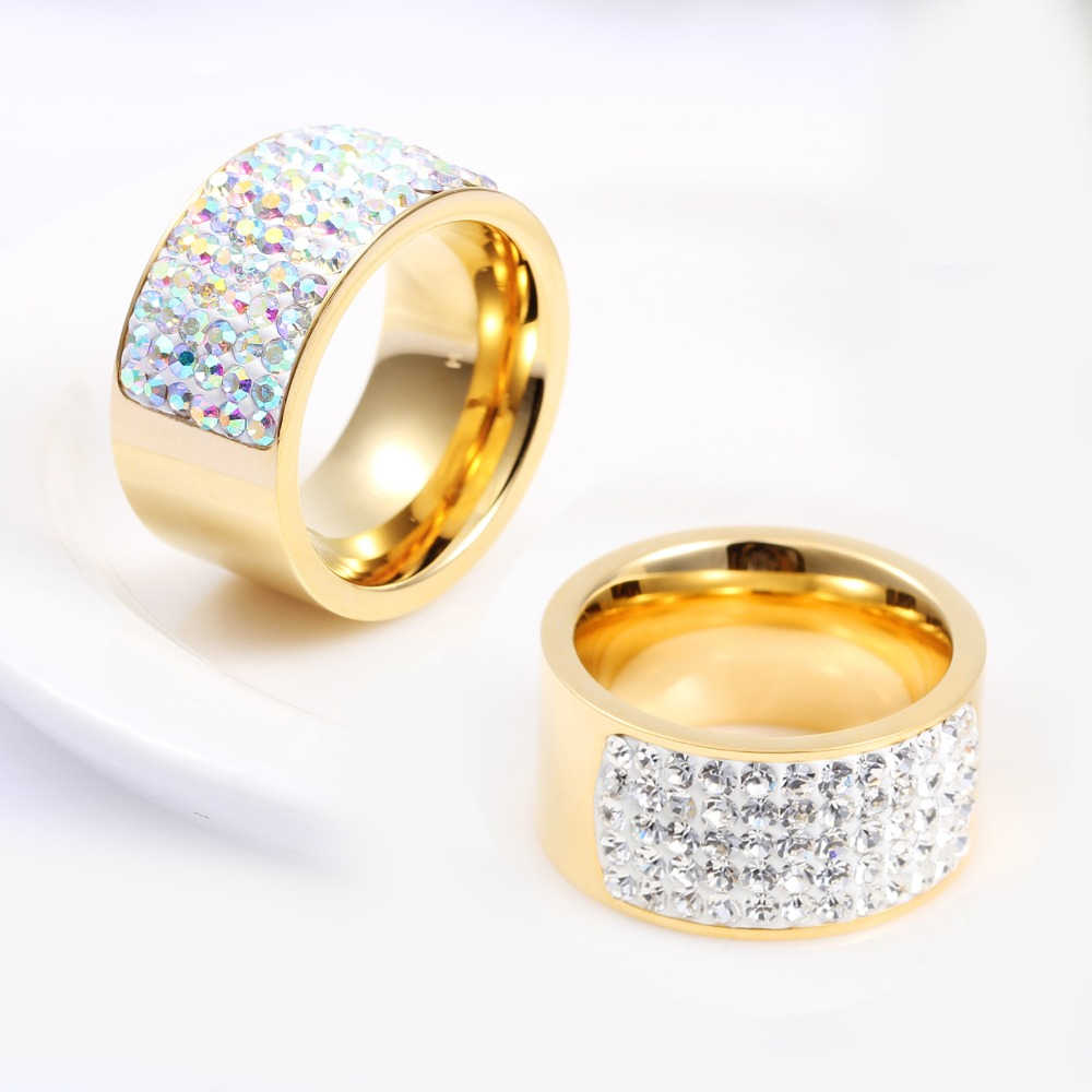 Unisex Italian Gold Ring12mm Stainless Steel Luxury White Crystal