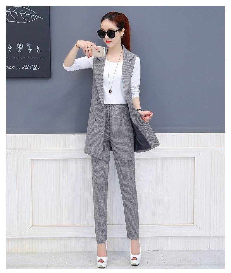 3 Piece Set Ladies Trouser Suit New Fall Spring Fashion Sleeveless Vest+White shirt+Pencil Pants Elegant Office Female Pants Se