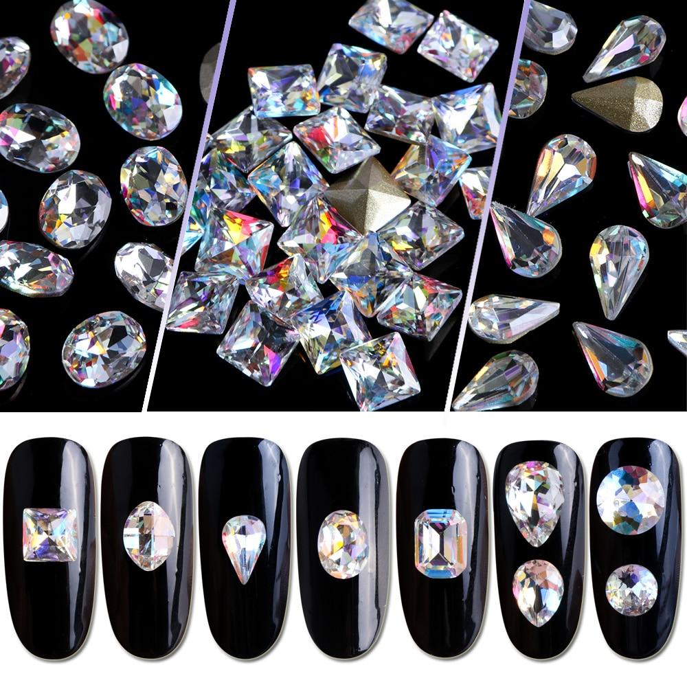 10pcs Nail Art Rhinestones Crystal Strass Oval Waterdrop Diamond Shiny 3D Charm Glitter Gem Manicure Decor Accessories JI069