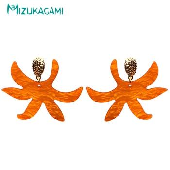 3fa9568e834c De moda de exageración naranja flores originalidad grandes pendientes de resina  para mujer elegante joyería de diseño